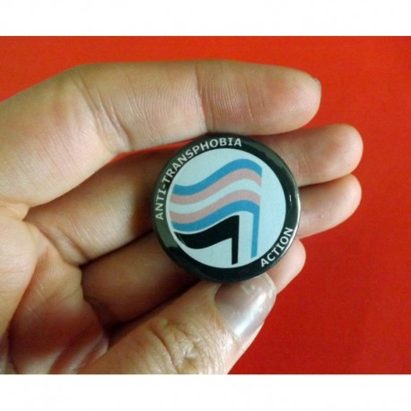 Anti transphobia action pin button badge lgbt
