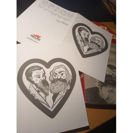 Engels Marx bromance postcard