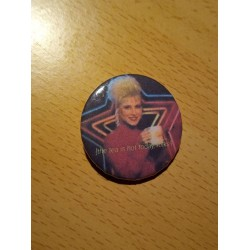 The tea is so hot today folks meme badge funny pin
