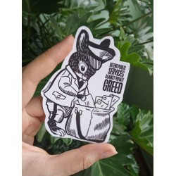 Protect public services agains private greed sticker pegatina leftist bunny