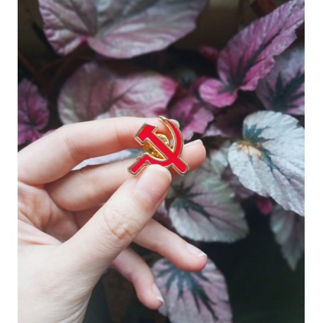 Hammer and sickle enamel pin