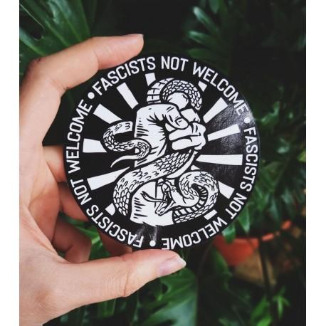 Fascist not welcome model 2 round sticker antifa