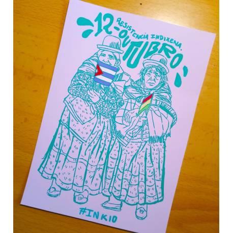 12 de octubre dia de la resistencia indígena postcard