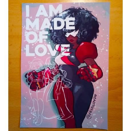 I am made of love Steven Universe Garnet postcard