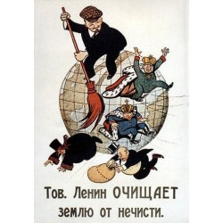 Comrade Lenin Cleanses the Earth of Filth by Viktor Deni Print Poster Soviet Art