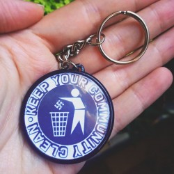 Keep your community clean antifascist keychain