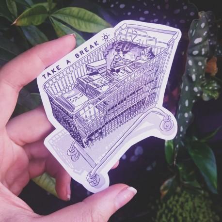Take a break cat cart sticker